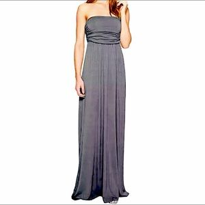 ✂️GRAY SLEEVELESS MAXI DRESS WITH RUCHED BODICE